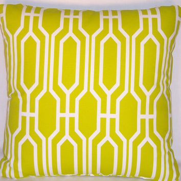 "Chartreuse Yellow Green Geometric Lattice Throw Pillow  Covington Harland Acid 17"" Square Cotton Ready to Ship Cover and Insert"