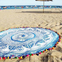 150cm Tassels Mandala Indian Tapestry Wall Hanging Boho Summer Beach Throw Cover Up Shawl Round Mat 2016 New Home Textile