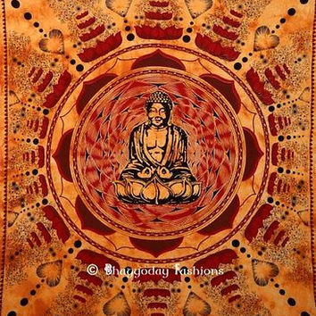 Buddha Meditation Lotus Wall Hanging Indian Tapestry Decor Queen Bedspread