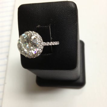 3.5TCW 10MM Round Cut Moissanite and Natural Diamonds 14k White Gold Engagement Ring. Exremely Beautiful Ring!
