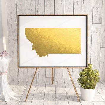 USA MAP PRINTABLE Montana Gold Foil Poster Art Print Maryland state silhouette Maryland map Maryland printable Maryland wall art Usa Map Art