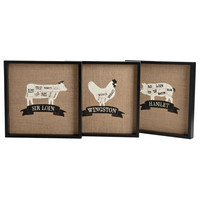 Vintage Butcher Cuts Chart - Decorative Wall Art From The Artisan Market - Set of Three 12-in