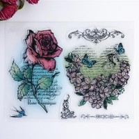 2017 new Scrapbook DIY Photo Album Account Transparent Silicone Rubber Clear Stamps Color Flower