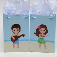 10 Luau Party Favor Bag - Hawaii Candy/Treat Bag - Hula Girl Birthday