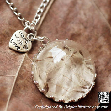 Nature Inspired Jewelry Real Dandelion Necklace Pendant Gift (HM0069-SLIVER)
