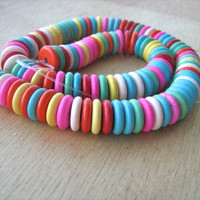 Colorful Magnesite gemstones saucer beads 8 inch strand