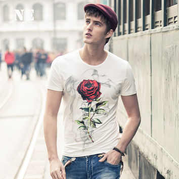 Summer Stylish Print Round-neck Slim Floral Pattern Short Sleeve Men T-shirts [7951209603]