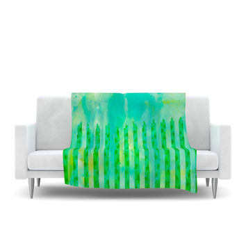 "Ebi Emporium ""Fancy This"" Green Teal Fleece Throw Blanket"