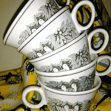 Five Vintage Franciscan Bird N Hand Cups, Bird N Hand Tea Cups, Bird N Hand Coffee Mugs,Franciscan Black and White, Black and White Tea Cups