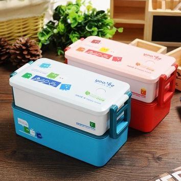 2 layer 850ml Lunchbox Bento Fresh Keeping Dinnerware Sets Food Container Kitchen Tableware for Home Office School Food Carrier