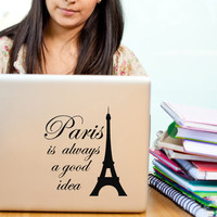 Paris Decor Audrey Hepburn Quote Decal with Eiffel Tower Paris is always a good Idea - Small vinyl wall art sticker