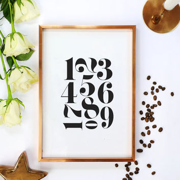 Numbers Poster, Scandinavian Numbers Print, Minimalist Wall Art, Black and White, Scandinavian Wall Decor, 1234567890, Modern Minimalist.