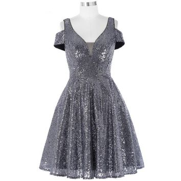 Shinning Sequined Short Evening Dresses Cap Sleeve Evening Gown V-Neck Formal Dress Special Occasion Dresses