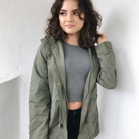 COLLETTE HOODED PARKA JACKET- OLIVE
