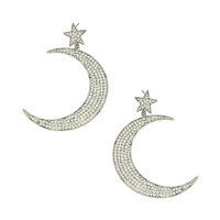 Silver Moon with Star Post Earrings