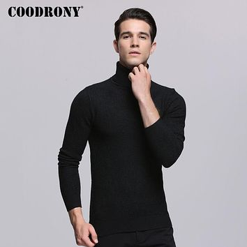COODRONY 2017 Autumn Winter Mens Sweaters Thick Warm Turtleneck Sweater Men Knitted Cashmere Cotton Pullover Men Pull Homme 7253