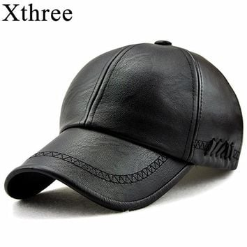 Trendy Winter Jacket Xthree New fashion high quality spring winter Faux leather baseball cap for men casual moto snapback hat men's hat Cap  AT_92_12