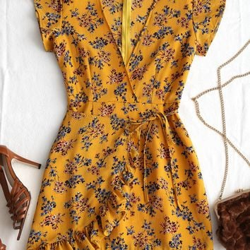 Karlina Mustard Floral Dress