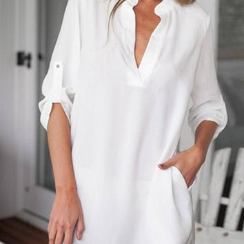White V Neck Shirt with Adjustable Sleeve