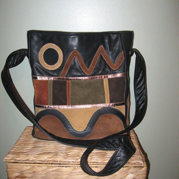 Gorgeous Vtg 1980s Avante USA Leather Crossbody Purse / Leather Color Block Shoulder Bag