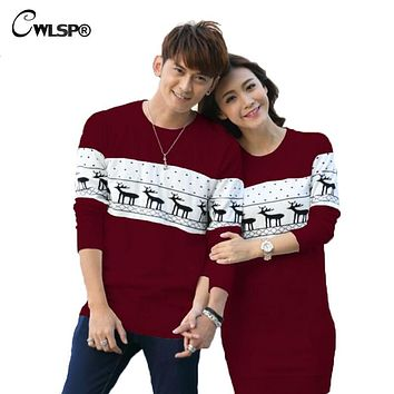 CWLSP Best Gift for Valentine Day Christmas Deer knitted Couples Sweater Dress Spring Autumn Lover Women Sweater Pullovers