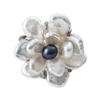 Sterling Silver Dyed Freshwater Cultured Pearl Flower Ring (White)
