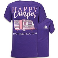 Southern Couture Preppy Happy Camper Lilac Purple T-Shirt