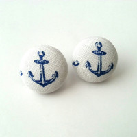 NEW blue and white nautical sailor anchor fabric button earrings