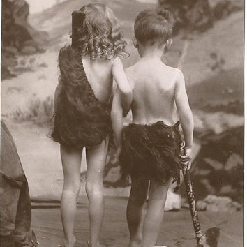 Cave Children from Davidson Bros Real Photographic Series London  Adorable Kids Dressed as Cave People Vintage Postcard