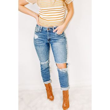High Rise Vintage Distressed Jean
