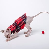 "Sphynx Cat Clothes Cat Bed Cat Toys ""Happy Sack"" New Kitten Kit in Emma's Plaid welcome your kitten home with everything he needs!"
