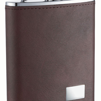 Visol Hunter Dark Brown Leather Stainless Steel Liquor Flask - 6oz