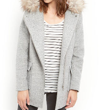 Grey Faux Fur Trim Hooded Biker Duffle Coat