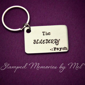 The Blueberry - Hand Stamped Psych Keychain - Gus and Shawn Little Blue Car - Custom Handmade Stainless Steel Fan Key Chain - Geekery