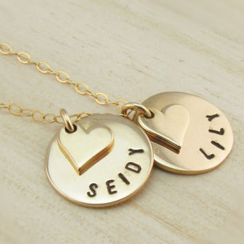 Small Gold Disc Necklace with Tiny Hearts on 14K Gold Filled Chain, Personalized Gold Jewelry, Two Gold Disks, Hand Stamped, Mother of Two