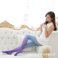 Gouache Color Gradient Pantyhose Women Silk Stockings Spring Autumn Fashion Thin Velvet Tights Opaque Seamless Kawaii Stockings