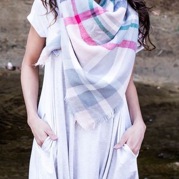 Rosy Blanket Flannel Scarf