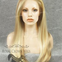 """24 inch Heat Safe Synthetic Straight Texture Lace Front """"Aphrodite"""" in Reddish Blonde Mix"""