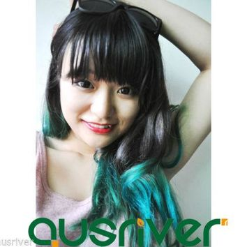 Fashion Blue Green Gradient Synthetic Curly Women Lady Wig Hair Extension Piece