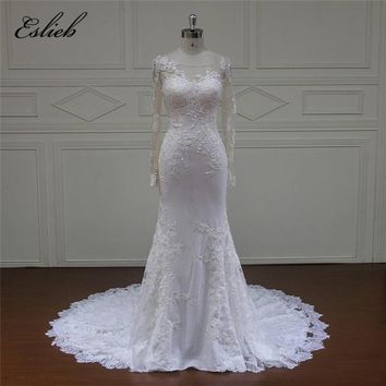 Eslieb High Quality Mermaid white Ivory Wedding Dresses Long Sleeve Bridal Gown Plus size Wedding Dress 2018 Vestido de Noiva