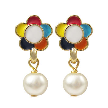 Dark Multi Enamel 9mm Flower, White 6mm Pearl Dangling, Gold Plated Brass Post Earrings