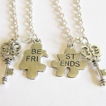 2 Jigsaw Puzzle Piece Best Friends Are The Key To My Heart Bff Sisters Necklaces