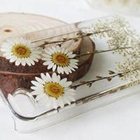 Rebbygena Custom Daisy Floral Real Pressed Flowers Phone Case for Iphone5/5s