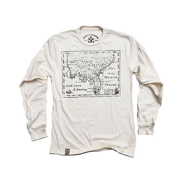 Treasure Map: Organic Fine Jersey Long Sleeve T-Shirt in Unbleached Natural