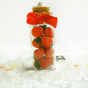 Necklace miniature strawberries in glass bottle big and small handmade in cold porcelain.