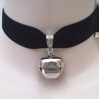 Huge JINGLE BELL (1 inch)  Drop Charm Black 22mm Velvet Ribbon Choker Kitty Cat Collar -bz... or choose another colour :)