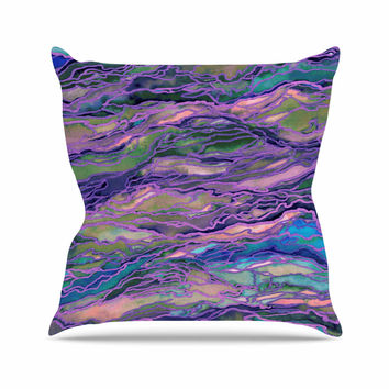 "Ebi Emporium ""Marble Idea! - Lavender Pink"" Purple Geological Outdoor Throw Pillow"