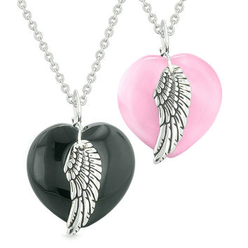 Amulets Angel Wing Hearts Love Couples or Best Friends Black Agate Pink Simulated Cats Eye Necklaces