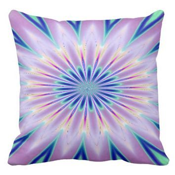 Purple White Blue Kaleidoscope Throw Pillow