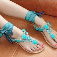 Mint Jeweled Flat Sandals with Ribbon Tie